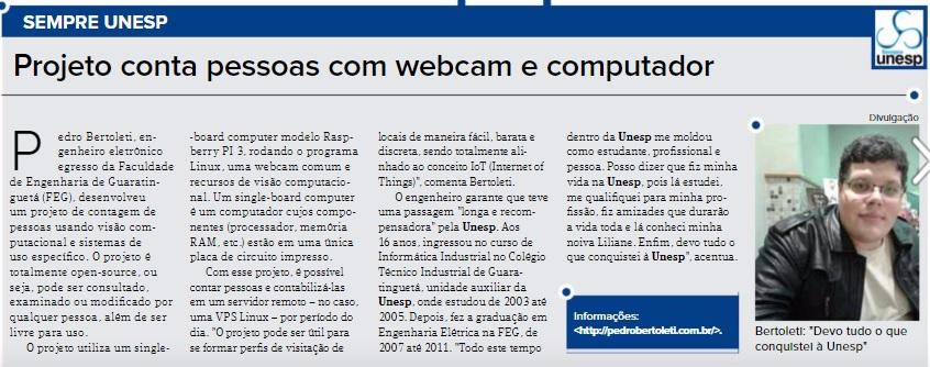 Matéria sobre projeto de Pedro Bertoleti - Jornal Unesp (Junho/2017)